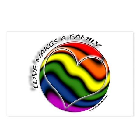 Love Makes A Family Gay Pride Postcards (Package o