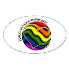 Love Makes A Family Gay Pride Oval Decal