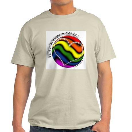 Love Makes A Family Gay Pride Ash Grey T-Shirt