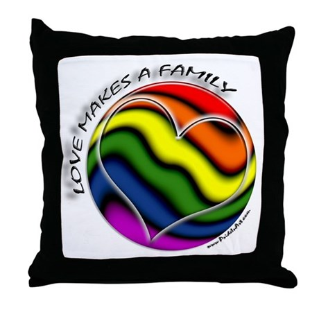 Love Makes A Family Gay Pride Throw Pillow