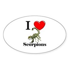 I Love Scorpions Oval Decal