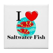 I Love Saltwater Fish Tile Coaster