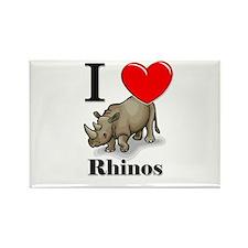 I Love Rhinos Rectangle Magnet