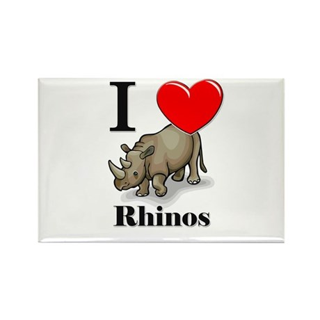 I Love Rhinos Rectangle Magnet