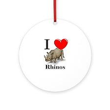 I Love Rhinos Ornament (Round)
