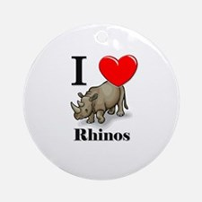 I Love Rhinos Ornament (Round)