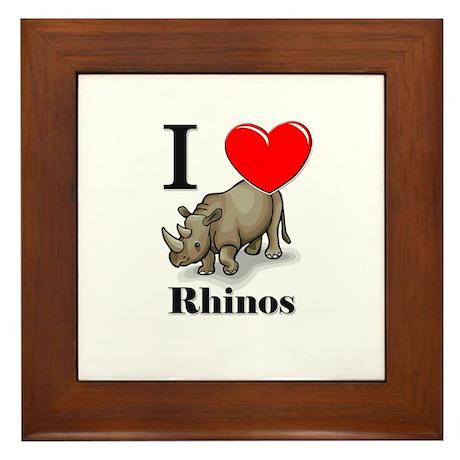 I Love Rhinos Framed Tile