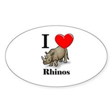 I Love Rhinos Oval Decal