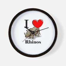 I Love Rhinos Wall Clock