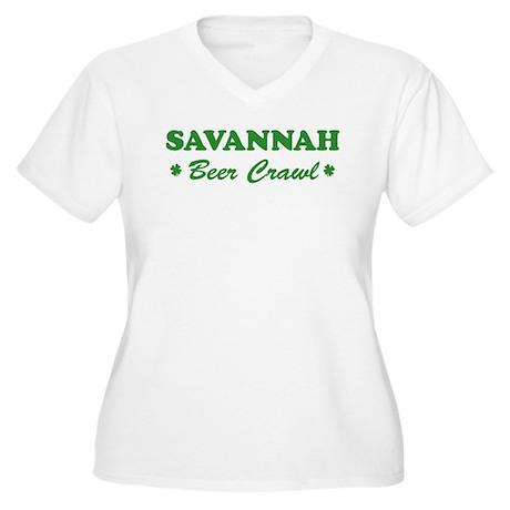 SAVANNAH beer crawl Women's Plus Size V-Neck T-Shi