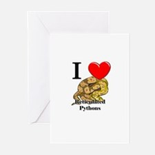 I Love Reticulated Pythons Greeting Cards (Pk of 1