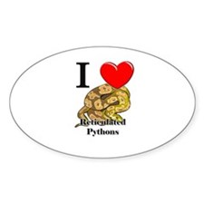 I Love Reticulated Pythons Oval Decal