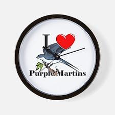 I Love Purple Martins Wall Clock