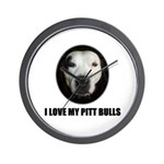 I LOVE MY PITT BULLS Wall Clock