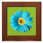 Pop Art Blue Daisy Framed Tile