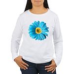 Pop Art Blue Daisy Women's Long Sleeve T-Shirt