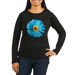 Pop Art Blue Daisy Women's Long Sleeve Dark T-Shir