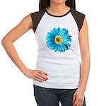 Pop Art Blue Daisy Women's Cap Sleeve T-Shirt