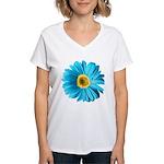 Pop Art Blue Daisy Women's V-Neck T-Shirt