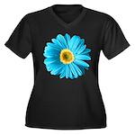 Pop Art Blue Daisy Women's Plus Size V-Neck Dark T
