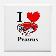 I Love Prawns Tile Coaster