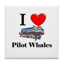 I Love Pilot Whales Tile Coaster
