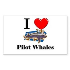 I Love Pilot Whales Rectangle Decal