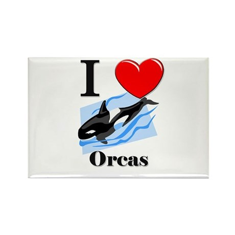 I Love Orcas Rectangle Magnet