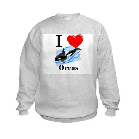 I Love Orcas Kids Sweatshirt
