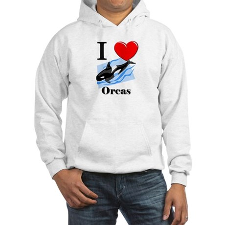 I Love Orcas Hooded Sweatshirt