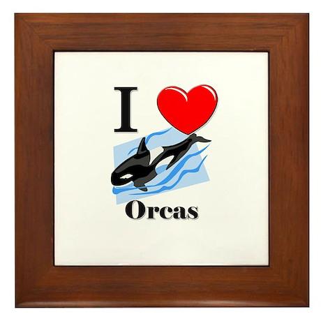 I Love Orcas Framed Tile