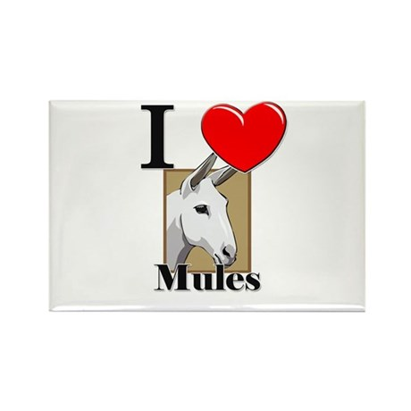 I Love Mules Rectangle Magnet (10 pack)
