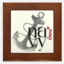 Navy Love Framed Tile