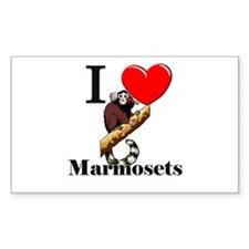 I Love Marmosets Rectangle Decal
