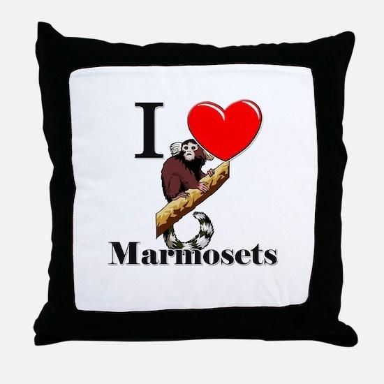 I Love Marmosets Throw Pillow