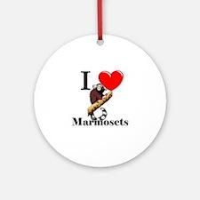 I Love Marmosets Ornament (Round)