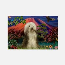 Mt Fuji / Bearded Collie Rectangle Magnet (10 pack