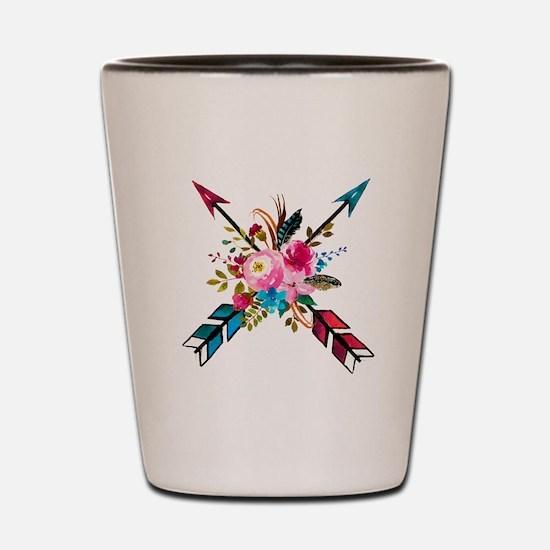 Watercolor Floral Arrow Bouquet Shot Glass