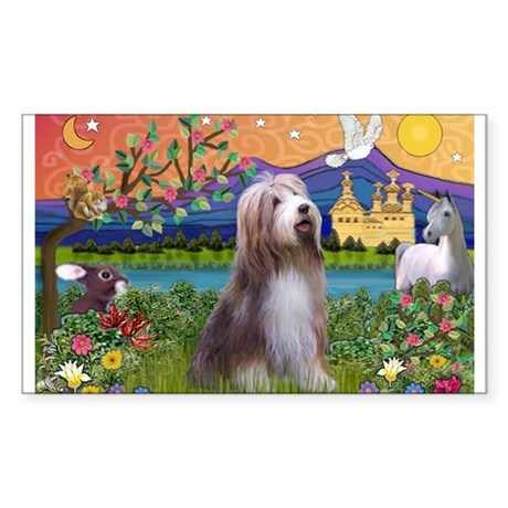 Fantasy Land / Bearded Collie Sticker (Rectangle)
