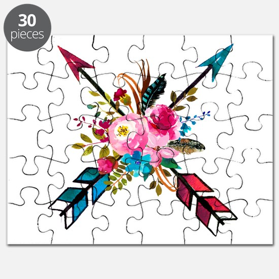 Watercolor Floral Arrow Bouquet Puzzle