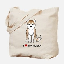 Red Siberian Husky Tote Bag