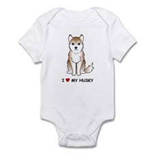 Red Siberian Husky Infant Bodysuit