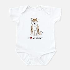 Red Siberian Husky Infant Bodysuit