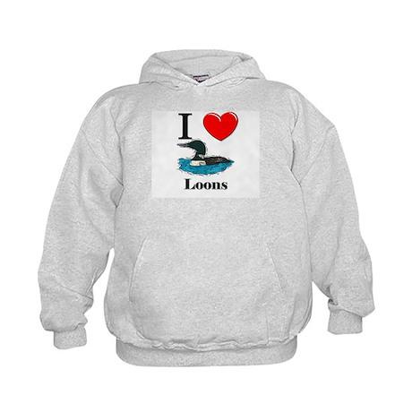 I Love Loons Kids Hoodie