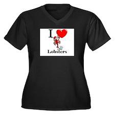 I Love Lobsters Women's Plus Size V-Neck Dark T-Sh