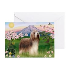 Fuji Blossoms / Bearded Collie Greeting Card