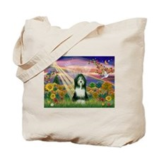 Autumn Angel / Bearded Collie Tote Bag
