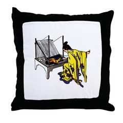 Woman at Weaving Loom Throw Pillow
