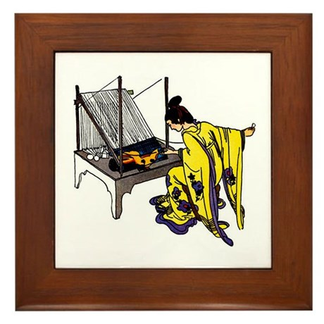 Woman at Weaving Loom Framed Tile