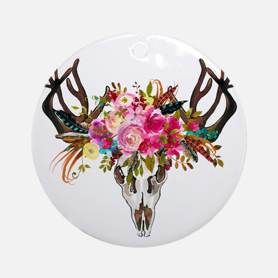 Bohemian Antler Skull Floral Bouque Round Ornament